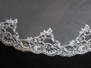 Velo de novia tul de seda bordado v1196
